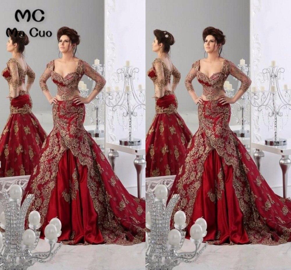2 pièces robes incroyable 2018 Promotion inde Style trois quart de manches broderie robe de soirée formelle longue femmes robes de bal