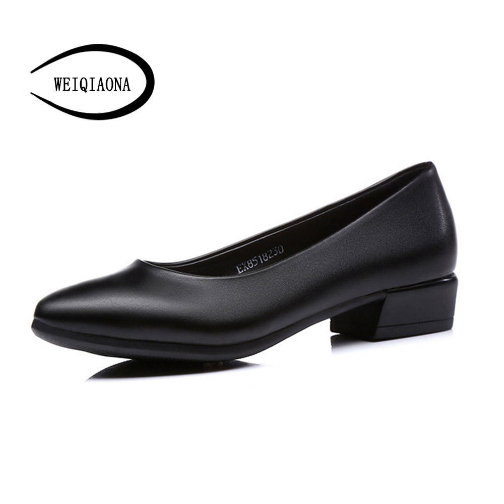 WEIQIAONA 2018 New Genuine Leather Casual Shoes Women low Heels Pionted Toe Comfortable Dress Shoes Ladies Shoes Working Shoes