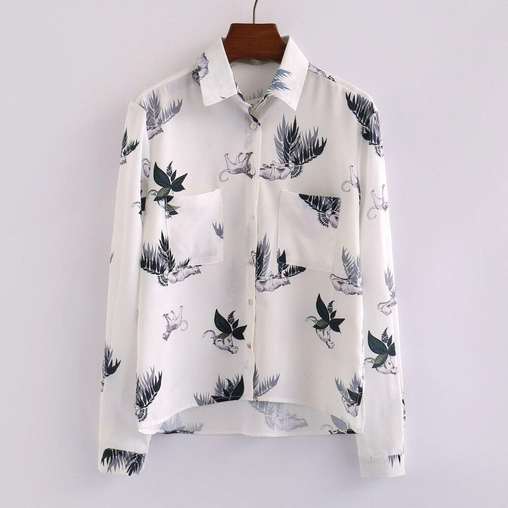 Las mujeres túnica blusa de la manera camisa de manga larga doble bolsillos dise