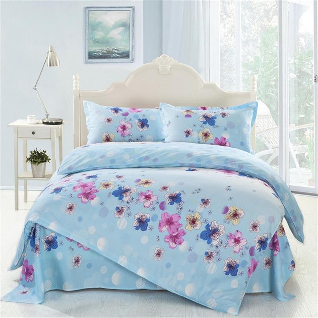 4pcs Twin Full Size Blue White Green Yellow Floral Bedding Girls