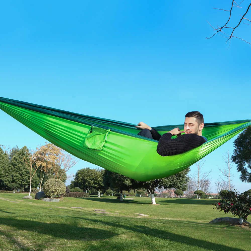 Nylon Hamac Double Personne Parachute Extérieur Voyage Camping Balançoire Suspendu Lit