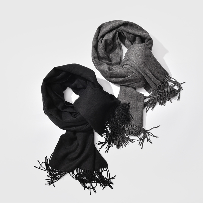 Men Scarf Gray Black Warm Winter Bussiness Thick And Unisex Gentleman's
