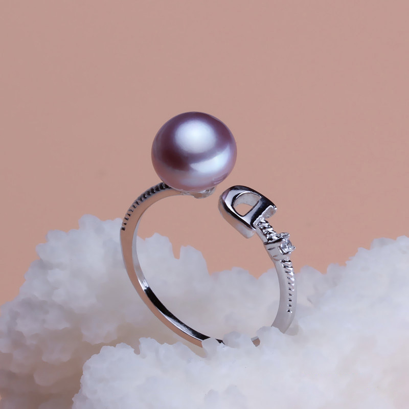 Pearl jewelry white natural freshwater pearl ring wedding for women adjustable pearl ring mother trendy present girl gifts in Rings from Jewelry Accessories