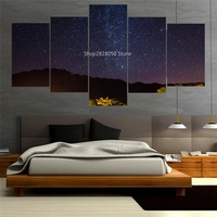 5 Piece Canvas Wall Art Quiet Night Shining Satr Landscape Painting Frameless Beautiful Picture Modular Scenery