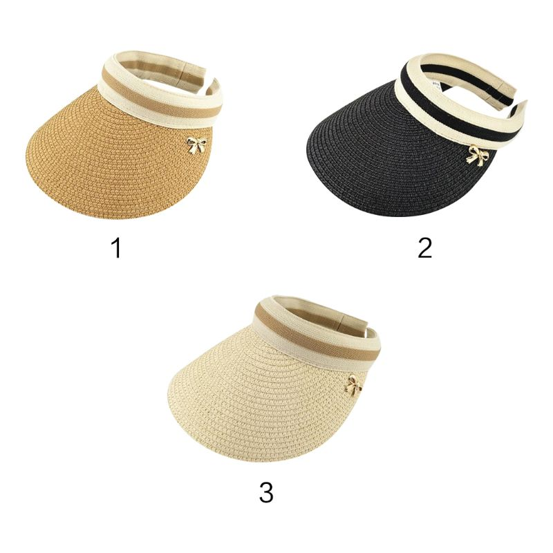 Women Summer Open Top Straw Braided Sun Visor Hat Stripes Metal Bowknot Decor Clip-On Wide Brim Sports Beach Cap 3 Colors