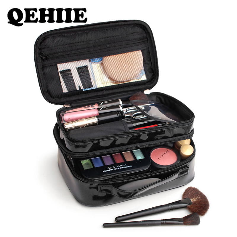 Makeup-Bag Cosmetic Beautician-Case Travel-Organizer Waterproof Portable Black PU Double-Layer