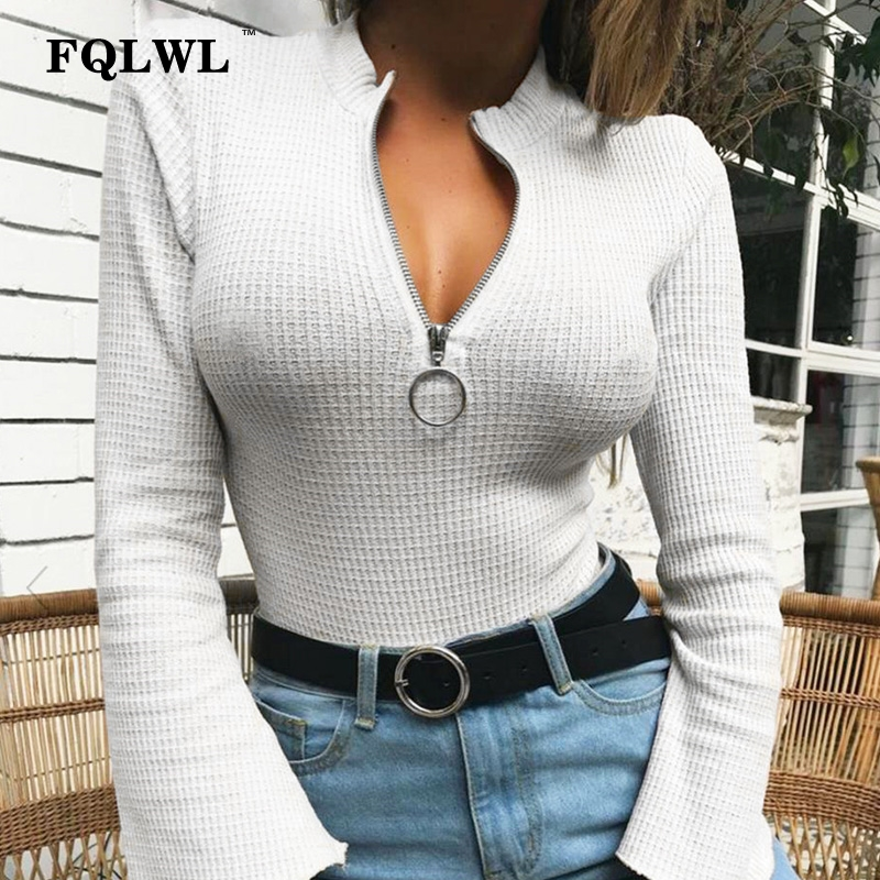 FQLWL Zipper Sexy White Bodysuit Women Flare Sleeve O Neck Knitted Bodycon Jumpsuit Black Top Combinaison Femme Casual Rompers
