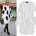 Women 's New Long - Sleeved Loose Round Neck New Design Hole Dress Hipster Dress 2017