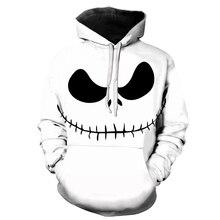 Hot New 2019 Male Sweatshirt Pumpkin King Jack Skellington Evil Smile Pattern Spring Men Hoodies Cool Streetwear Halloween Party