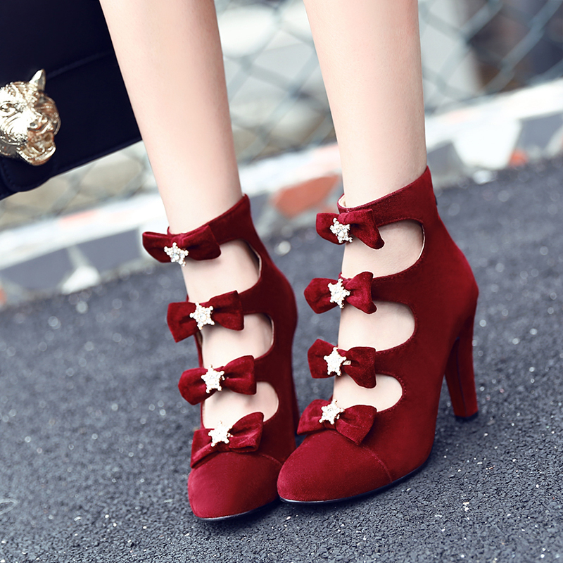 New Gorgeous Women Ankle Boots Stylish Bowtie Spike Heels Boots Black Brown Beige Red Shoes Woman US Size 4-16 2015 spike boots platform black boots on the heels red bottom ankle boots for women plus size 35 42 3