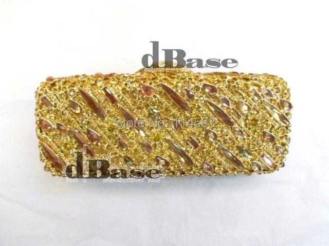 ФОТО 8227 Crystal Wedding Bridal Party Night hollow Gold Metal Evening purse clutch bag box case handbag