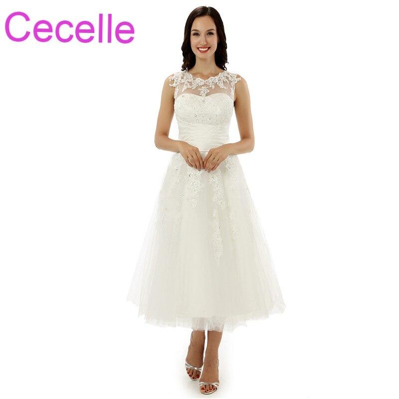 Informal Wedding Gowns: 2018 Short Informal Wedding Dresses Vintage Tea Length
