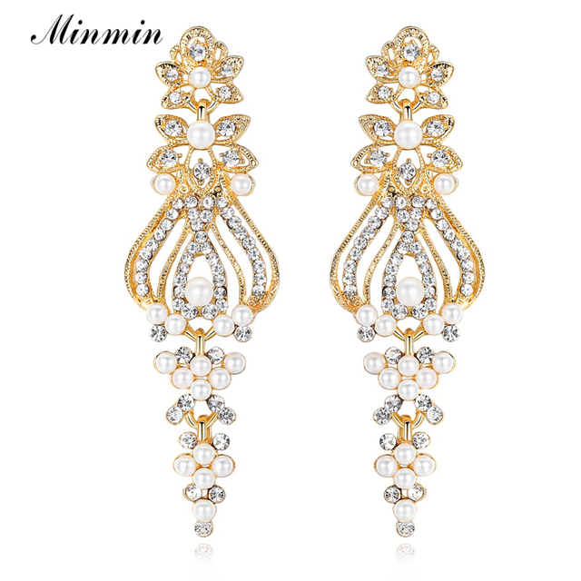 Minmin Silver Gold Color Pearl Drop Earrings Chandelier Crystal Wedding For Women Brides Bridesmaid