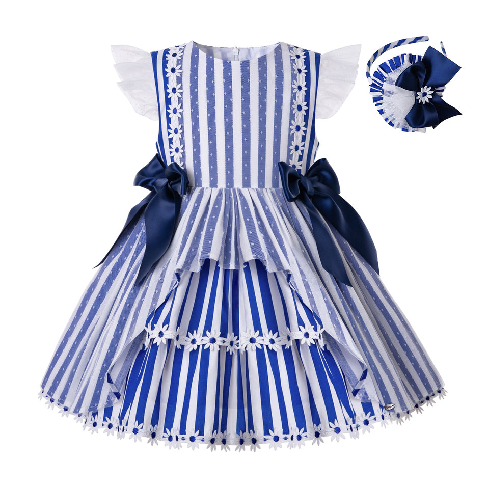 Pettigirl Wholesale Summer Stripe Birthday Party kids dresses for girls Children Clothing With Bows And Headwear