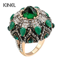 Kinel Unique Natural Green Stone Rings For Women Vintage Antique Gold Crystal Flower Big Ring Christmas