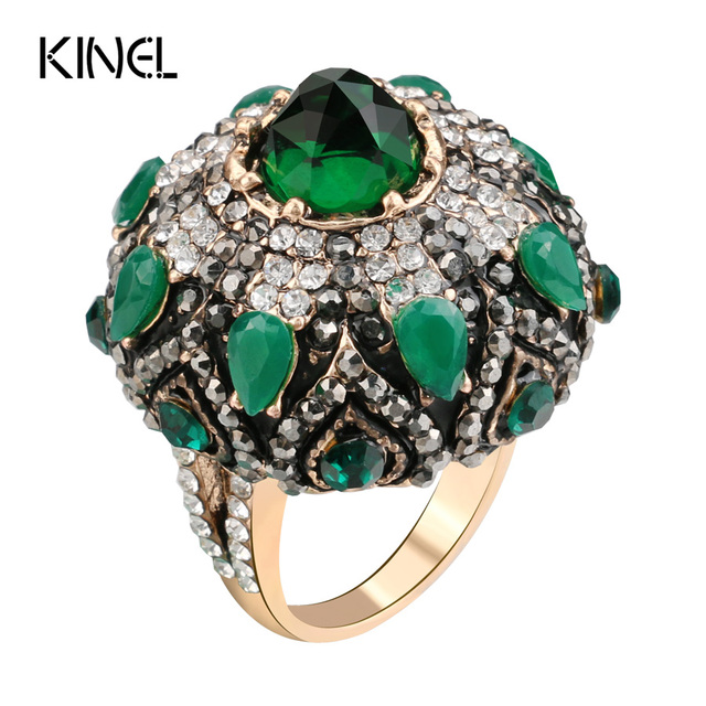 Kinel Unique Natural Green Stone Rings For Women Vintage Antique Gold Crystal Fl