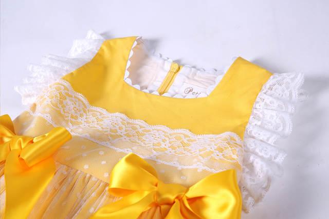 de263ae25d21 Pettigirl New Girls Easter Dress Summer Yellow Cotton Kids Dress With Headwear  Clothes G-DMGD101