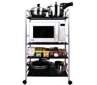 Четыре Слои металлической полкой подвижные Кухня хранения стеллаж бытовой регулируемый держатель для хранения с Колёса