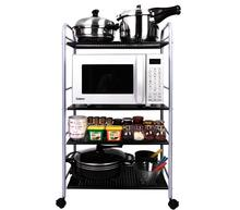 Four-Layer Metal Storage Shelf Movable Kitchen Storage Rack Household Adjustable Storage Holder With Wheels