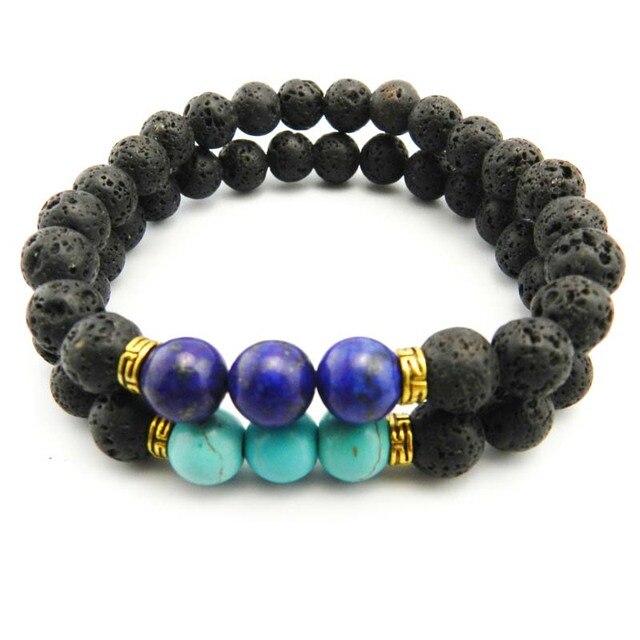 High Quality Black Lava Stone Beaded Bracelet Bangle Imperial Beads Stretch Women Mens Energy Yoga Jewelry