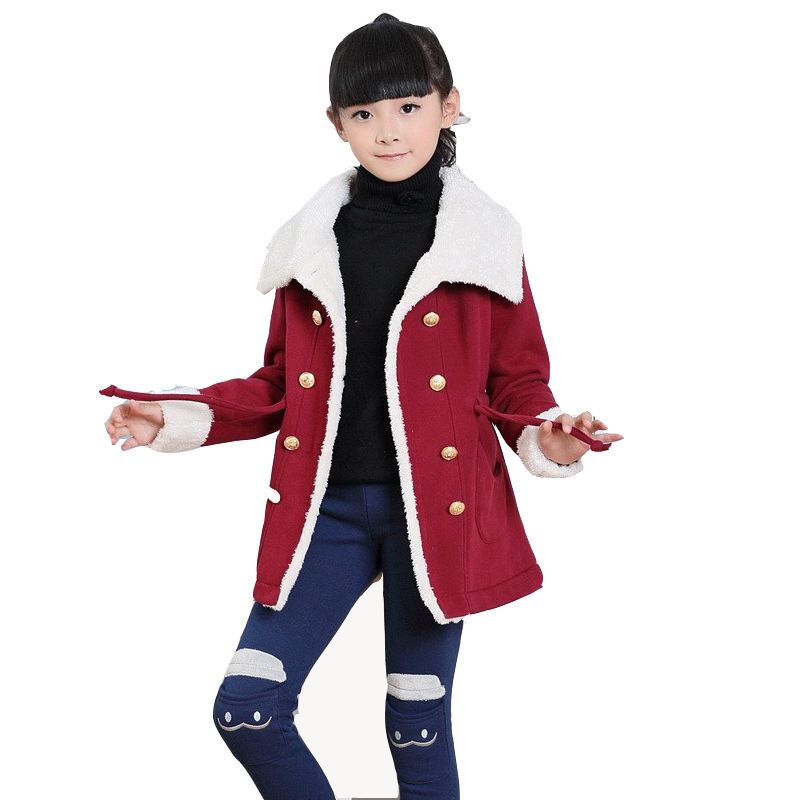 ФОТО Winter children's outerwear 2015 new children with thick coat warm winter girls lamb velvet coat khaki top brand retail