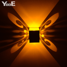 Home Fashion LED Wall Lamp  Butterfly 3W AC100-265V Modern Aluminum  KTV / Bar / Corridor Decorate Color Lamps Free shipping