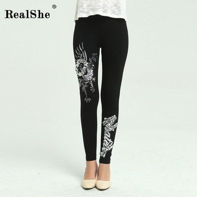 97e3d229c110b0 RealShe kobiety mody Legging ptaki i słowa drukowania cekiny leginsy Slim  bliski talia rozciągliwy czarne legginsy
