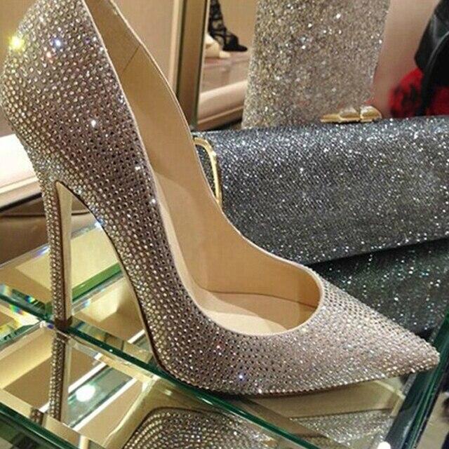 Мода острым носом свадебная обувь горный хрусталь туфли на высоком каблуке алмаз тонкие каблуки свадебные туфли Пром Обувь