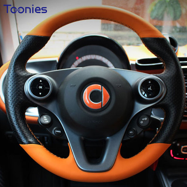 2017 2018 New Smart Fortwo 453 Hand Sched Leather Steering Wheel Cover Interior Modification Accessories Needle Thread