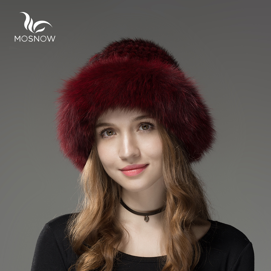 ФОТО Mosnow New Genuine Mink Fur Winter Fur Hats Fluffy Wide Brim Women Brand Vogue Knitted Warm Casual  Mink Hats Skullies Beanies