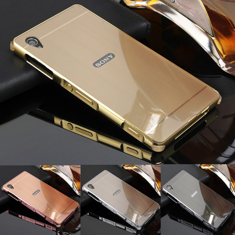 Phone Case For Sony Xperia Z1 Z2 Z3 Z4 L39h L50T L50U D6603 D6633 C6906 Aluminum Metal Frame Wire Drawing Effect Acrylic Cases