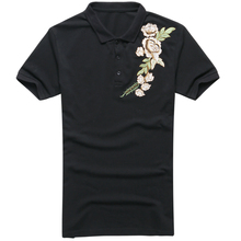 2017 summer new flowers embroidered men's black slim fit polo shirt men's casual short sleeve polo brand PL-38