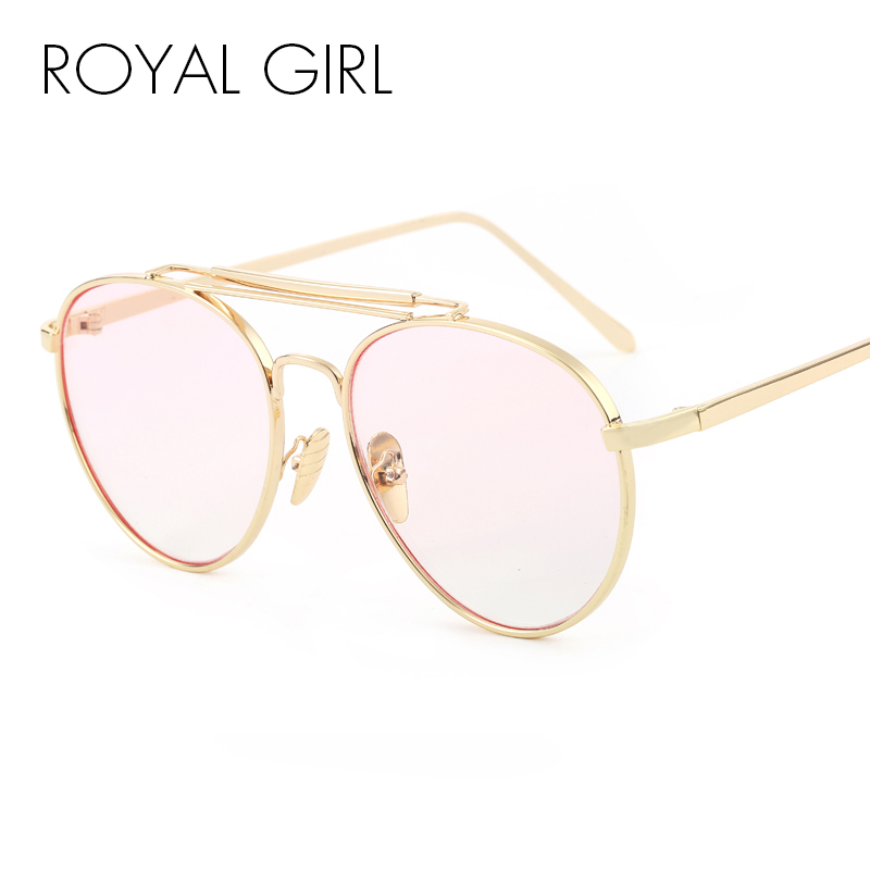 f7d1b81ec18 ROYAL GIRL Oversize Metal Round Eyeglasses Frames Women Clear Lens Glasses  Retro Optical Frames ss407