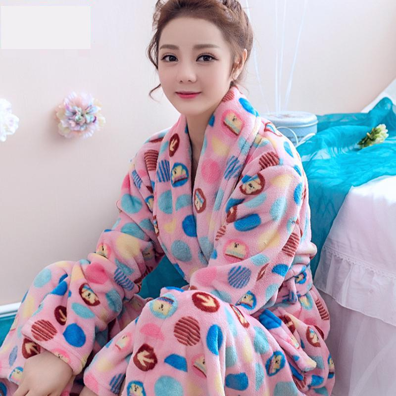 new women coral fleece winter autumn warm bathrobe nightgown kimono dressing gown sleepwear robe for lady 19 colors xxl - Flannel Nightgowns