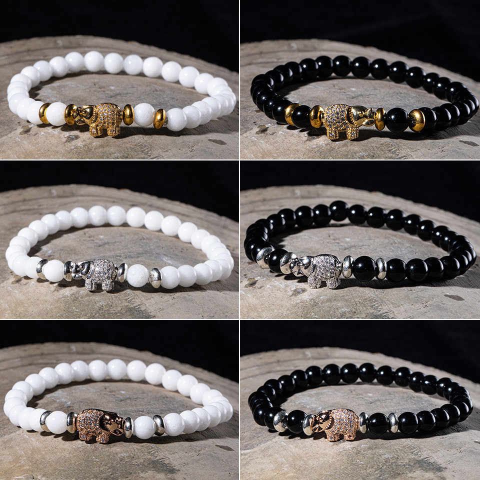 Charm Bracelet for Men Fashion Luxury Micro Pave CZ Elephant High quality Lava stone bead Strand Bracelets Jewelry Male Homme