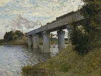 Claude Monet Canvas Painting bridge and distant factories Hot Sell Art Picture Home Decor On Canvas impressionist Painting