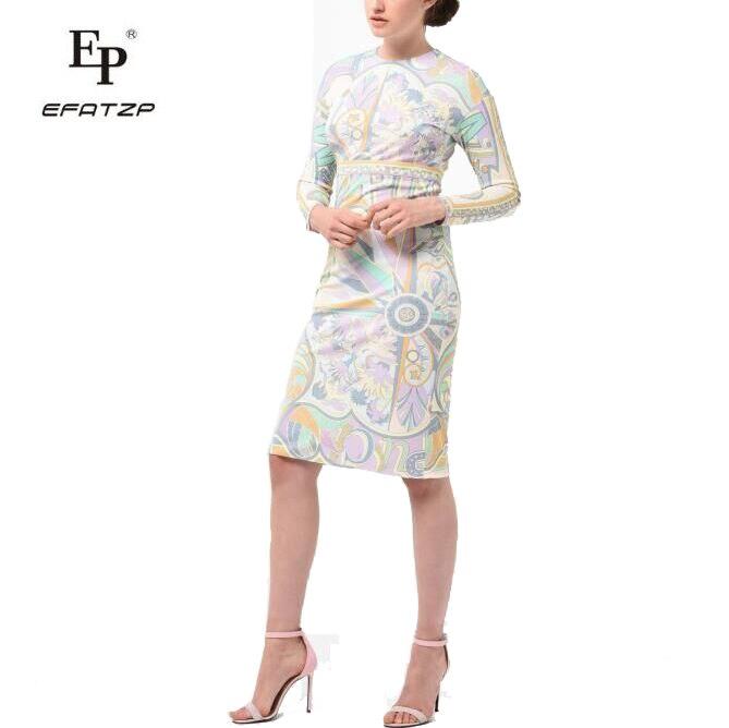 EFATZPแฟชั่นใหม่ล่าสุด2018ออกแบบเครื่องแต่งกายสตรีแขนยาวหรูหราเรขาคณิตพิมพ์เสื้อยืดผ้าไหมย์XL XXLวันชุด-ใน ชุดเดรส จาก เสื้อผ้าสตรี บน   1