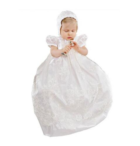 Noble Handmade Infant Baptism Gown Baby Girl Christening Dress White/Ivory Lace Robe 0-24month 2016 baby infant baptism gown baby girl christening dress white ivory lace applique robe 0 24month