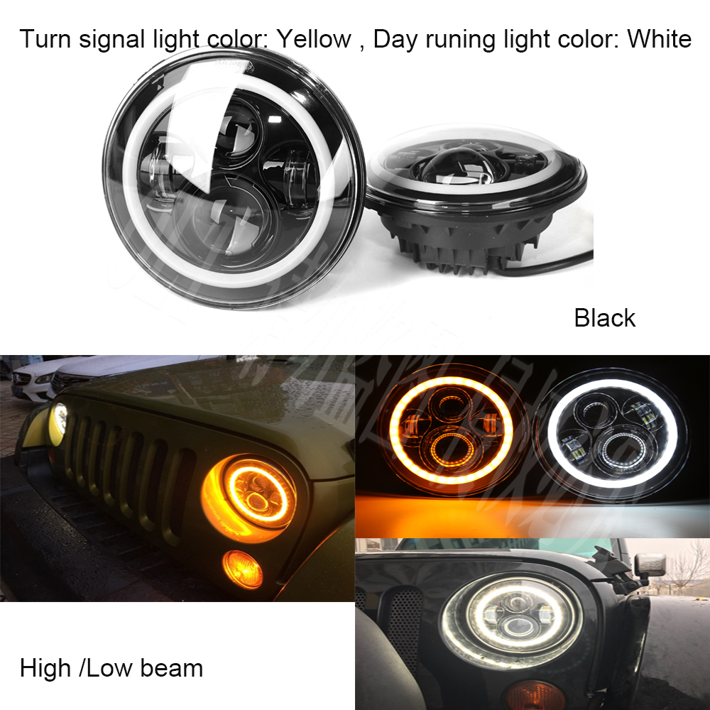 High quality 7 Inch DRL Round Led Headlight Halo amberAngle Eyes led headlamp for Jeep Wrangler Unlimited JK LJ TJ/ Rubicon demon eyes 12v 35w 7 inch cob halo hid xenon led headlight headlamp with demon eyes drl canbus ballast for jeeep wrangler 07 15