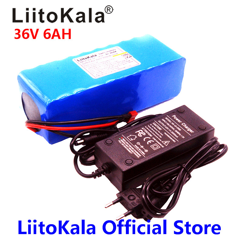 LiitoKala 36V 6ah 500W 18650 lithium battery 36V 8AH Electric bike battery with PVC case for electric bicycle 42V 2A charger