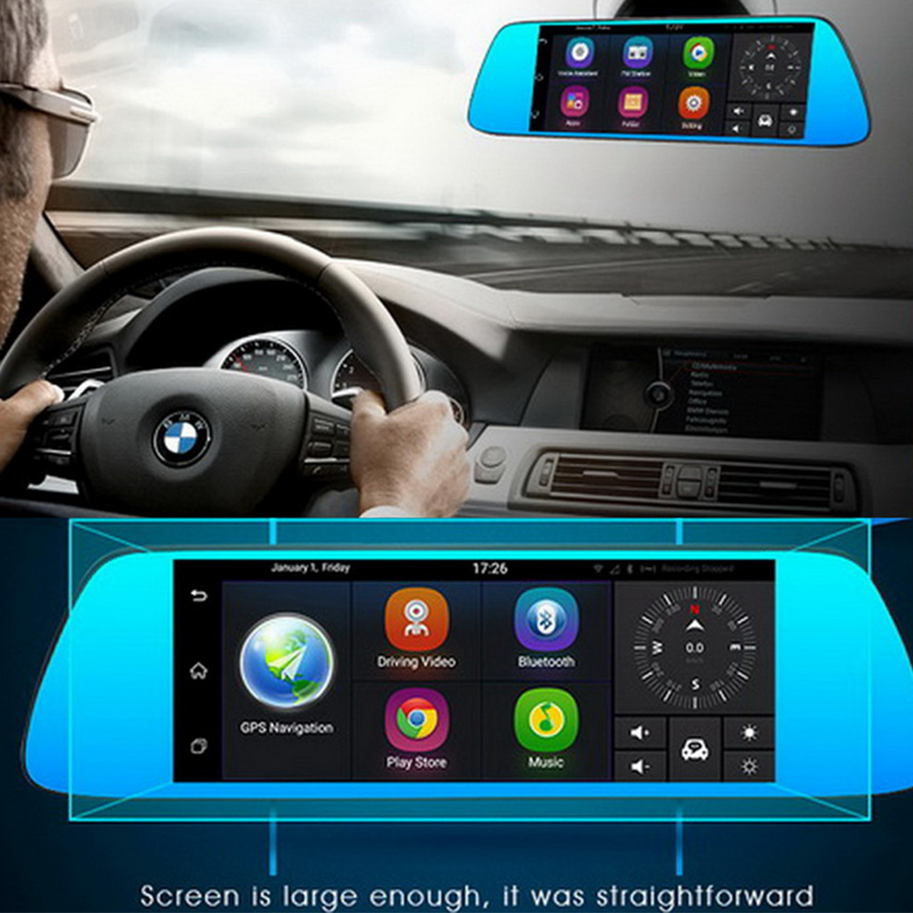 7 inch Touch Android 5.0 GPS car dvr video recorder Bluetooth WIFI FM Dual Lens rearview mirror Dash cam dvrs 3G Camera