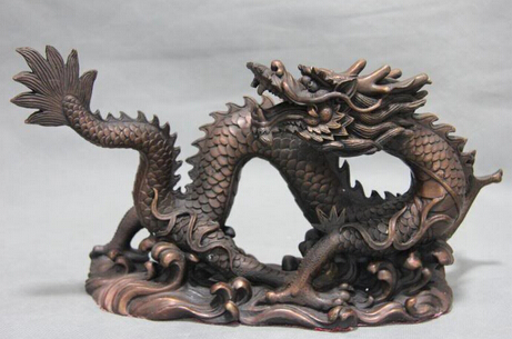 Xd 003305 Pure Red Copper Bronze Feng Shui Zodiac Lucky Auspicious China Dragon Art Statue