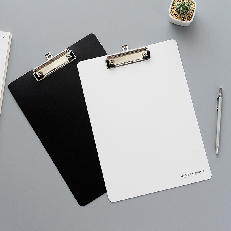 A4 Clip File Solid Color Black And White Impression Plastic Plate And Metal Folder For Documents Folder Hard And Unbendable