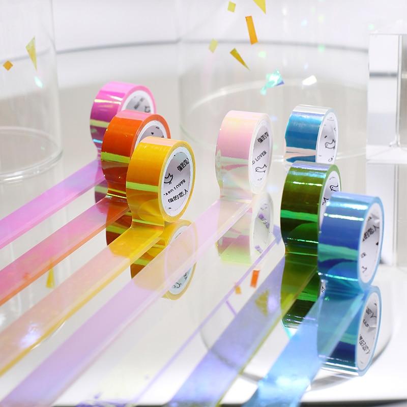 Colorful Shining Rainbow Laser Decorative Adhesive Tape Masking PE Tape DIY Scrapbooking Sticker Label Japanese Stationery