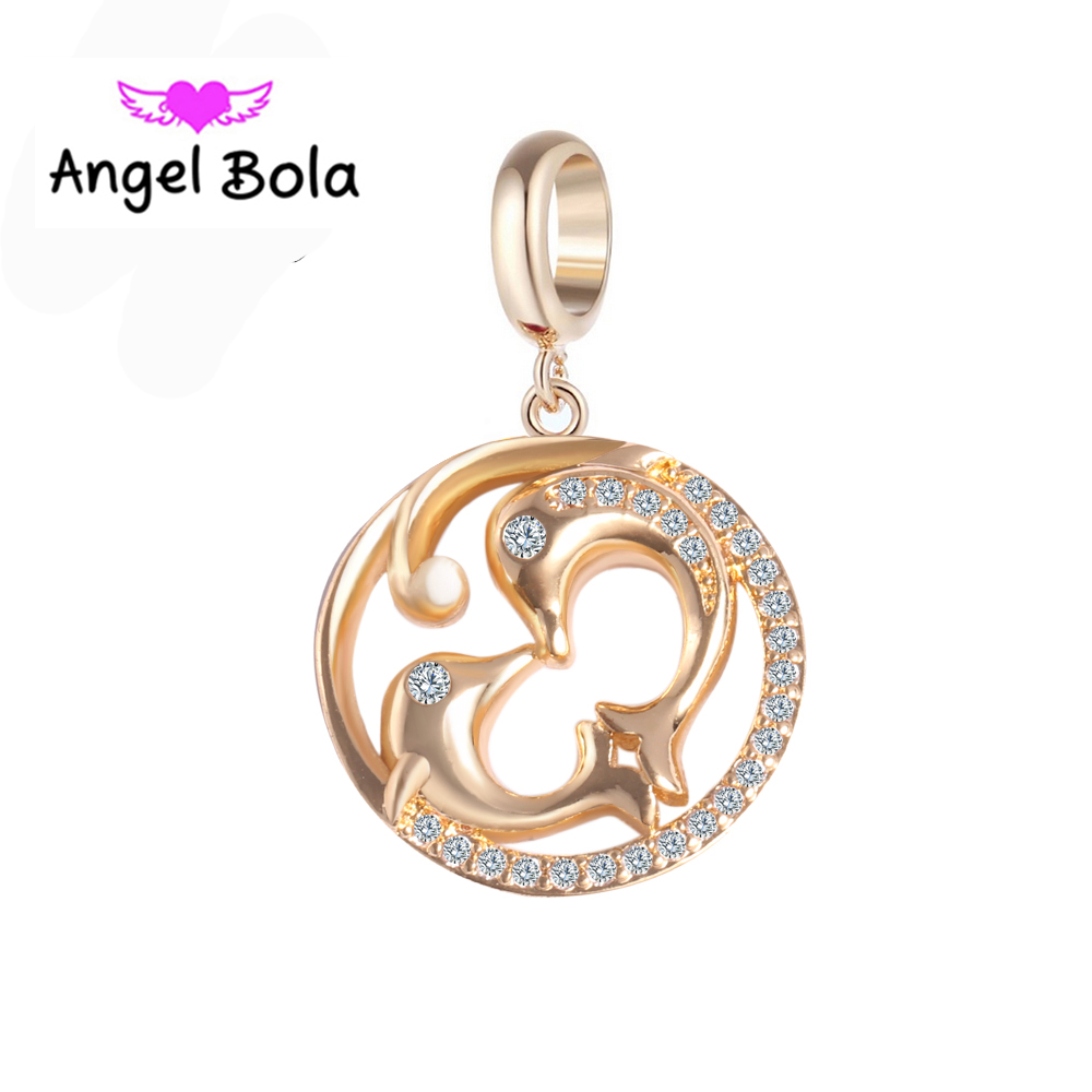 Dolphin Design Endless Charms Jewelry Findings DIY CZ Slide Beads Endless Bracelet Charms for Women Gifts EP-126