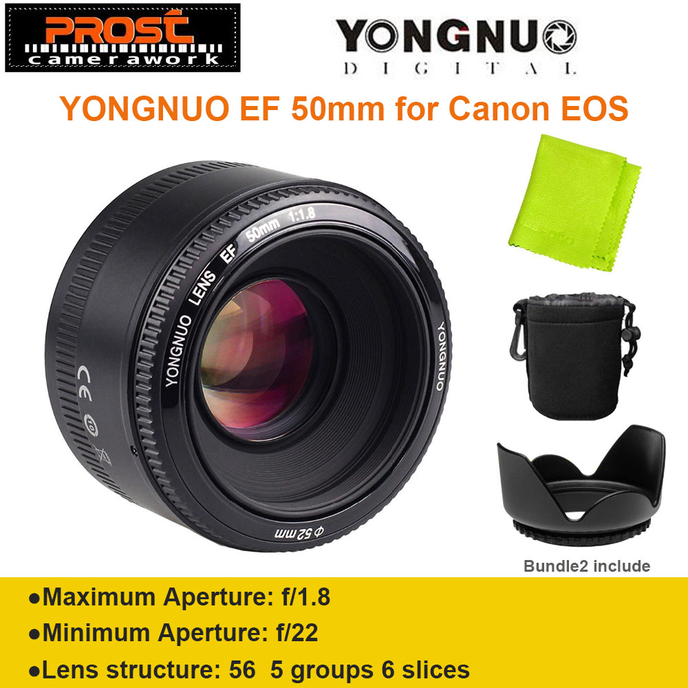 YONGNUO YN50mm f1.8 YN EF 50mm f/1.8 Obiettivo AF YN50 Apertura Auto messa a fuoco per Canon EOS Dslr + Cappuccio + Bag + Lente panno