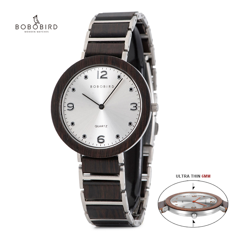 BOBO BIRD Ultra Thin Quartz Wood Watch Top Brand Luxury Waterproof Stainless Steel Casual Wristwatch