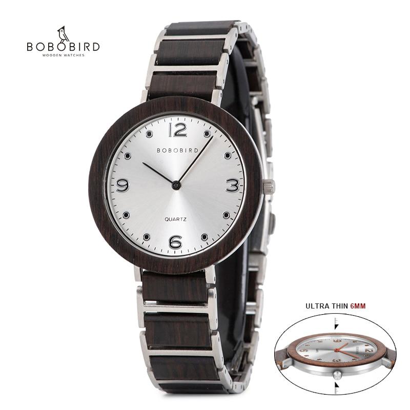 BOBO BIRD Ultra Thin Quartz Wood Watch Top Brand Luxury Waterproof Stainless Steel Casual Wristwatch