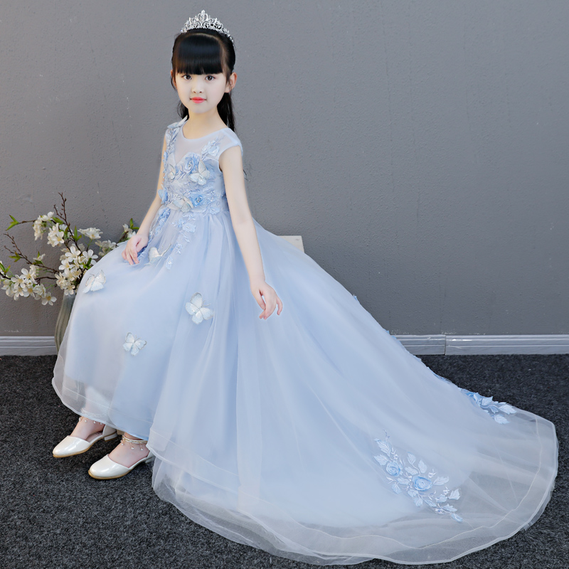 2018 Summer New Children Toddler Infant Pink Blue Birthday Wedding Party Dress Kids S Elegant Princess Flowers Tail