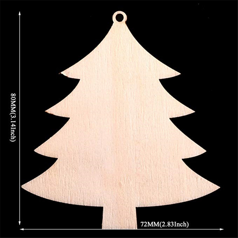 20pcs Unfinished Wooden Christmas Tree Hanger Pendents Ornaments Gift Tags